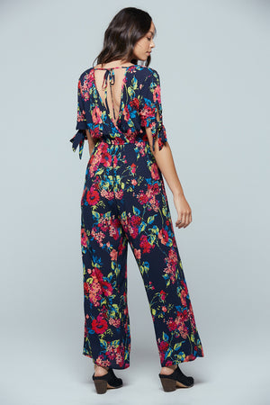Bimini Islands Floral Tie Sleeve Jumpsuit Back