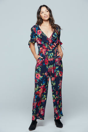 Bimini Islands Floral Tie Sleeve Jumpsuit Detail