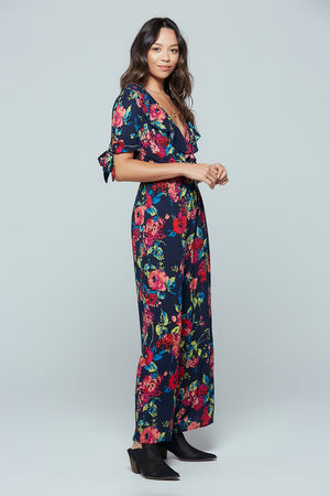 Bimini Islands Floral Tie Sleeve Jumpsuit Side