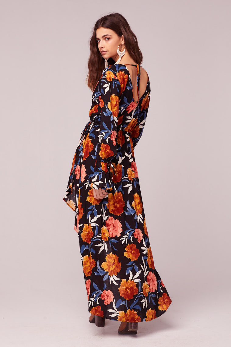 No Women No Cry Black Floral Hi Lo Maxi Dress Back2