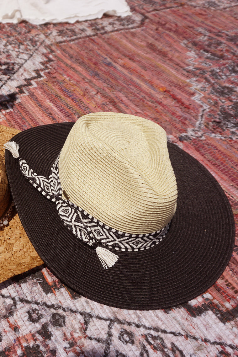 Escape Black Jacquard Trim Fedora Sun Hat