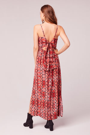 Bon Voyage Snake Print Midi Dress Back2