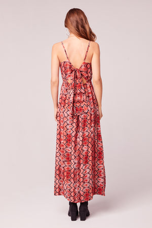 Bon Voyage Snake Print Midi Dress Back