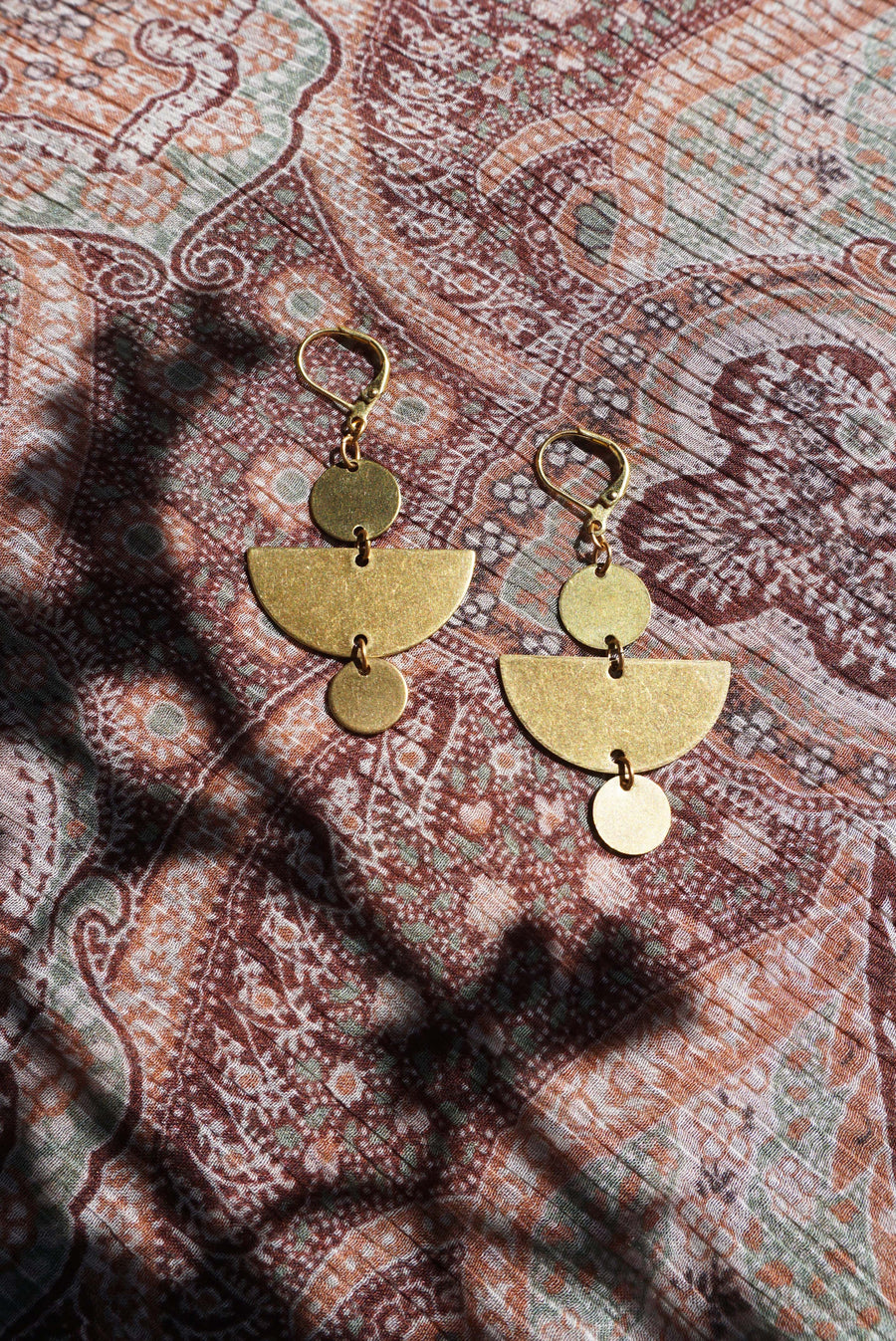 Bonita Brass Half Moon Earrings Flat Lay