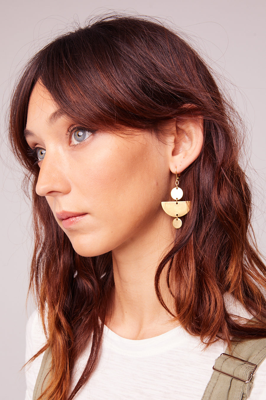 Bonita Brass Half Moon Earrings Close