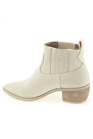 Borderline Linen Canvas Ecru Booties Back