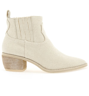 Borderline Linen Canvas Ecru Booties Side