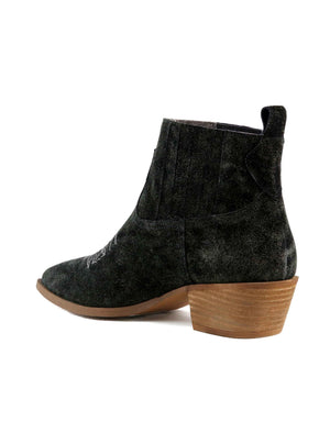 Borderline Rough Suede Black Western Booties Back