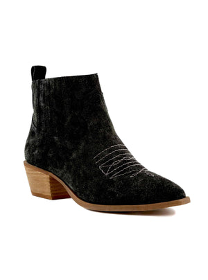 Borderline Rough Suede Black Western Booties Master