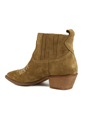 Borderline Rough Suede Tan Western Booties Back