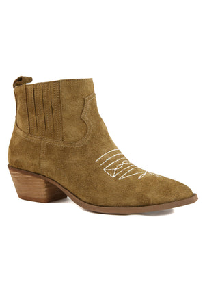Borderline Rough Suede Tan Western Booties Master