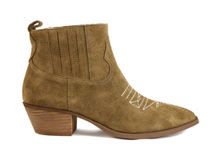 Borderline Rough Suede Tan Western Booties Side