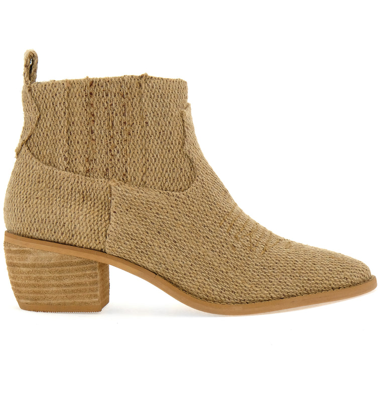 Borderline Coarse Canvas Tan Booties Side