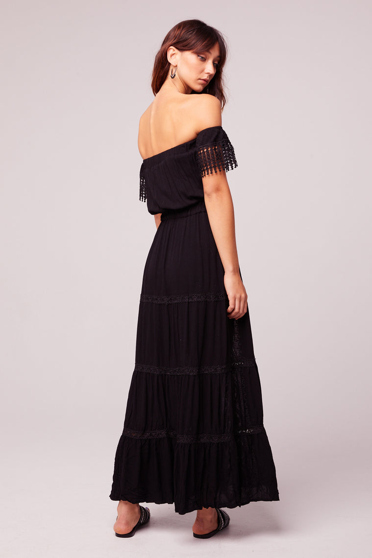 Breeze Off The Shoulder Black Lace Dress Side