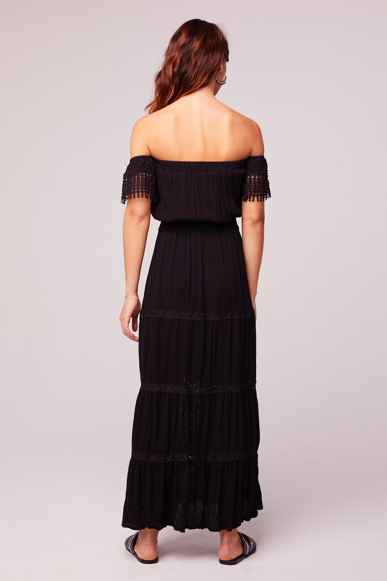 Breeze Off The Shoulder Black Lace Dress Back