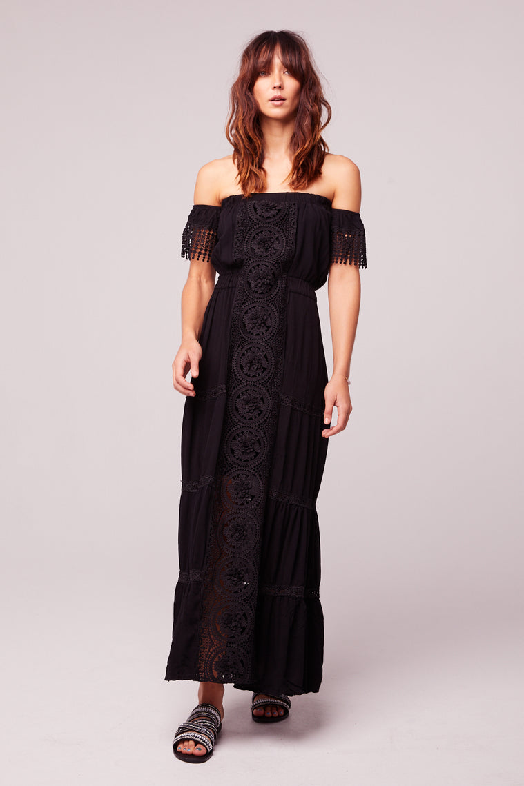 Breeze Off The Shoulder Black Lace Dress Master