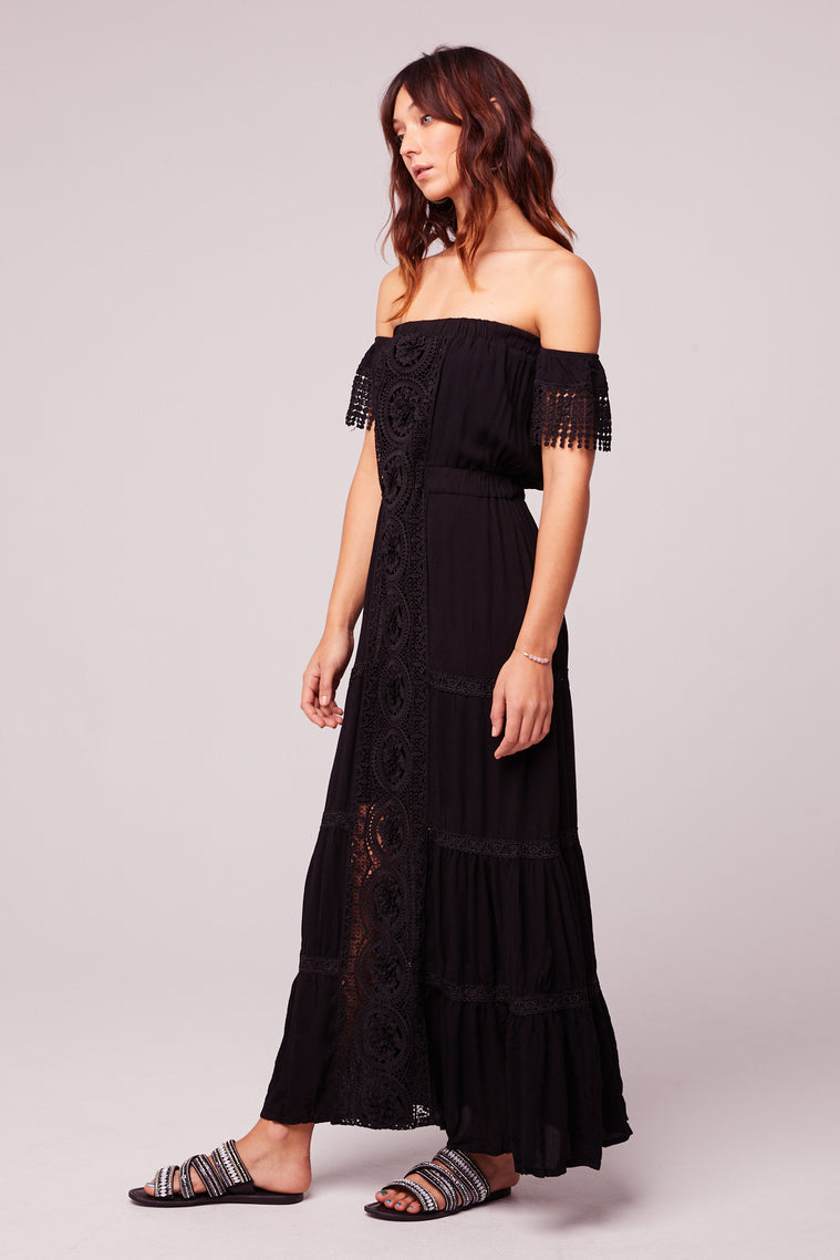 Breeze Off The Shoulder Black Lace Dress Side3