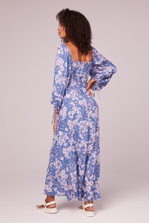 Brigitte Amethyst Floral Long Sleeve Maxi Dress Back