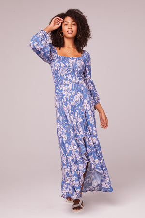 Brigitte Amethyst Floral Long Sleeve Maxi Dress Master