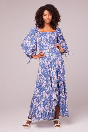 Brigitte Amethyst Floral Long Sleeve Maxi Dress Fribt