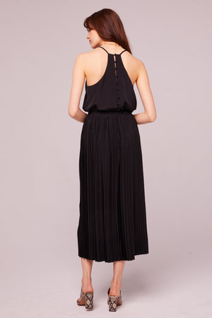 Broadway Pleated Faux Wrap Skirt Back