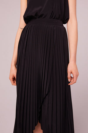 Broadway Pleated Faux Wrap Skirt Detail