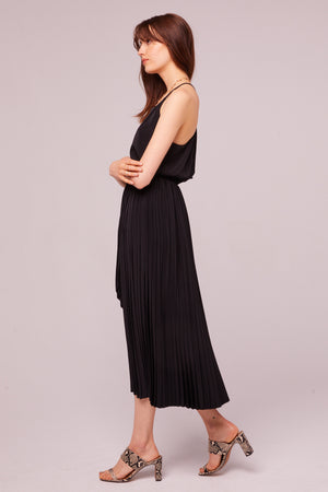 Broadway Pleated Faux Wrap Skirt Side