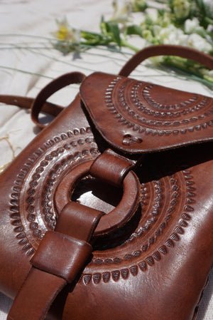 Wanderlust Leather Hand Made Pouch Detail