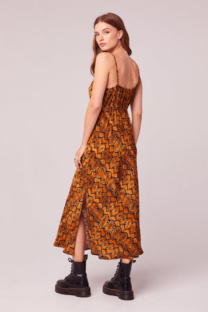 Ca Va Gold Snake Skin Slip Dress
