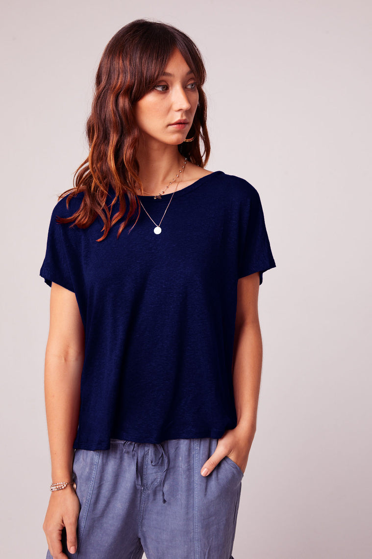 Caged Back Trapeze Navy Knit Top Master