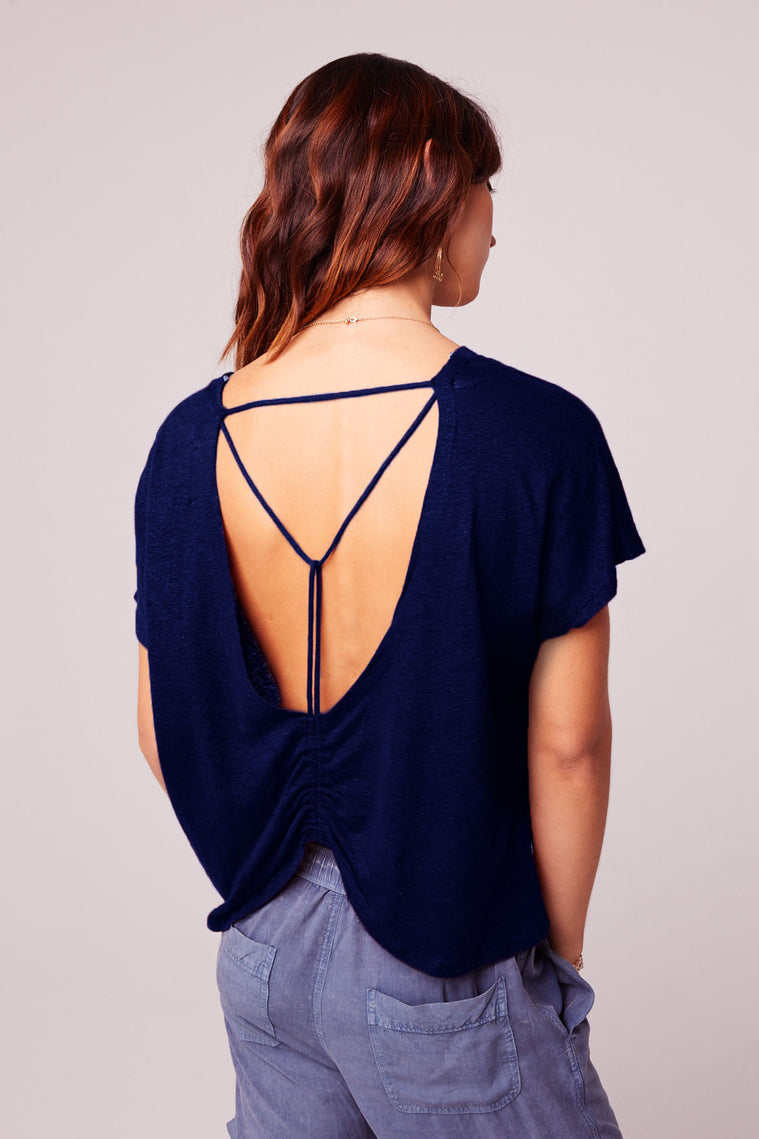 Caged Back Trapeze Navy Knit Top Back