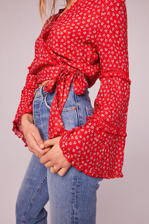 Calabasas Red Bell Sleeve Tie Top Detail