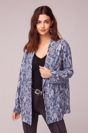 Californication Blue Snake Skin Print Blazer Close