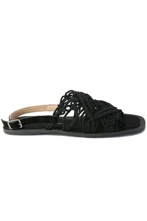 Callisto Black Macrame Buckle Sandal Side