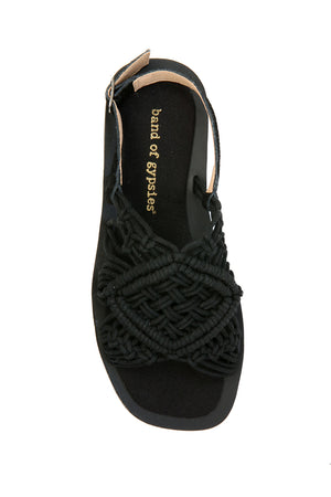 Callisto Black Macrame Buckle Sandal Top