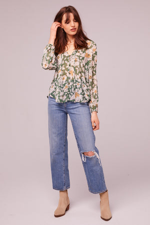 Canal St Floral Button Up Blouse Detail