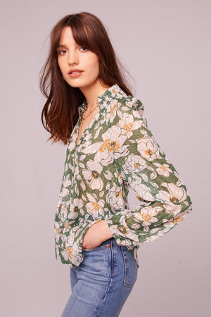 Canal St Floral Button Up Blouse Side