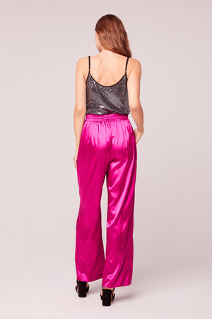 Cannes Fuchsia Wide Leg Satin Pant