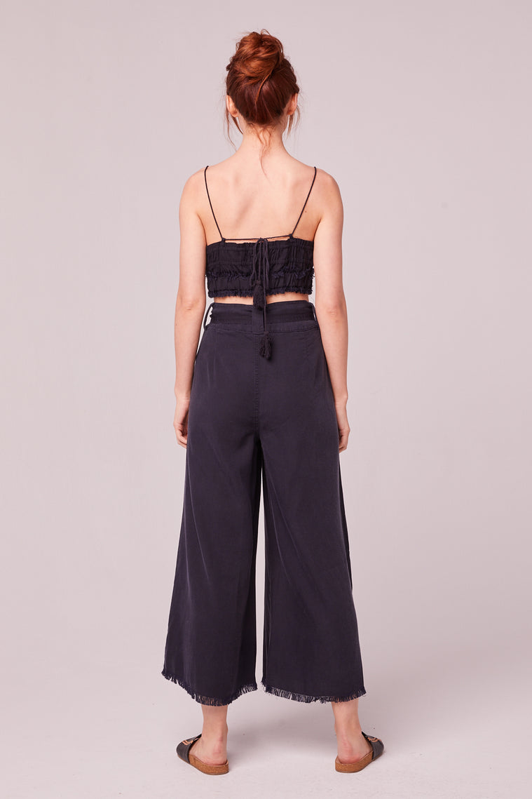 Capri Tencel Raw Edge Navy Culotte Pant Back