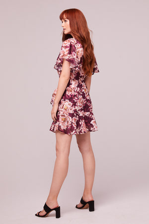 Carole Floral Plum Flutter Sleeve Mini Dress Back