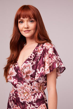 Carole Floral Plum Flutter Sleeve Mini Dress Close