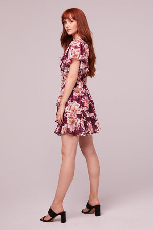 Carole Floral Plum Flutter Sleeve Mini Dress Side