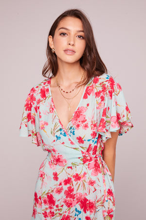 Carole Sky Blue Floral Surplice Mini Dress Detail