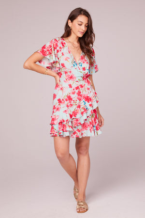 Carole Sky Blue Floral Surplice Mini Dress Front