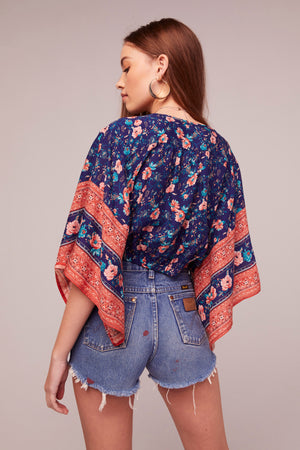 Celestine Tie Front Border Print Top Back