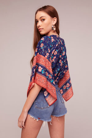 Celestine Tie Front Border Print Top Side