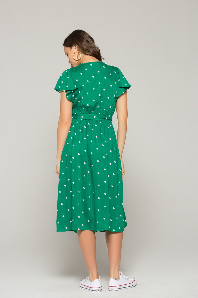 Chelsea Green Dot Button Down Dress Back