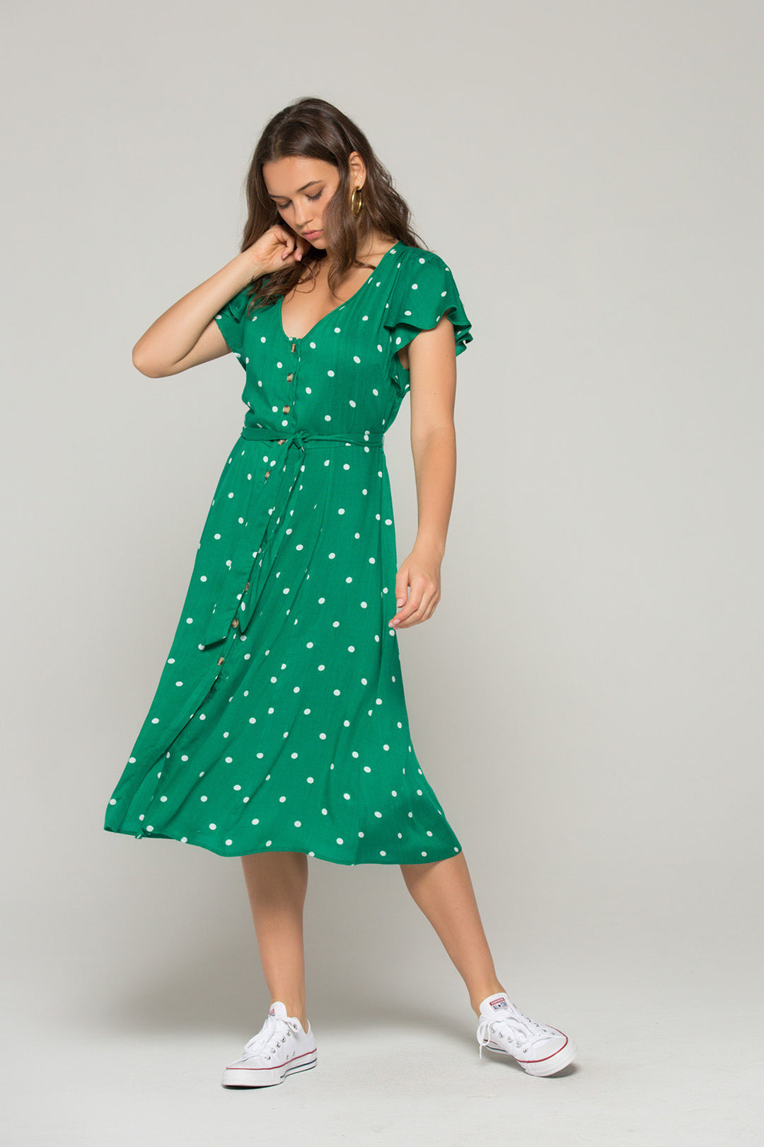 Chelsea Green Dot Button Down Dress Master