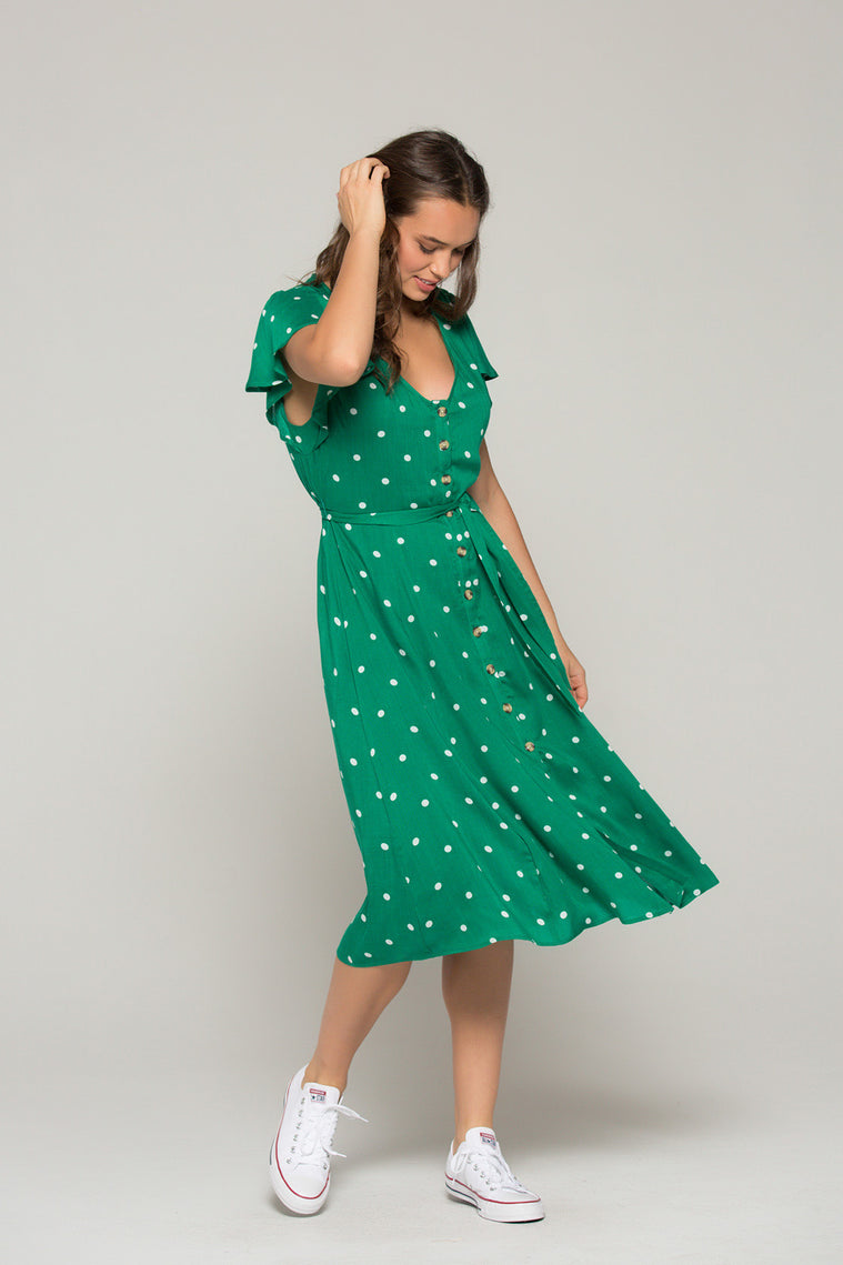 Chelsea Green Dot Button Down Dress Detail