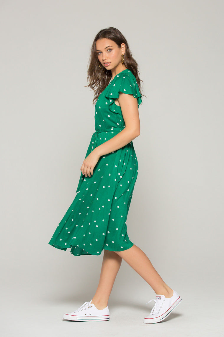 Chelsea Green Dot Button Down Dress Side